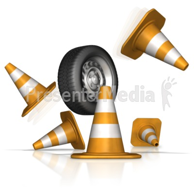 Tire Crash Through Safety Cones PowerPoint Clip Art