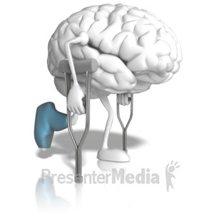 ID# 10347 - Brain With Crutches - Presentation Clipart
