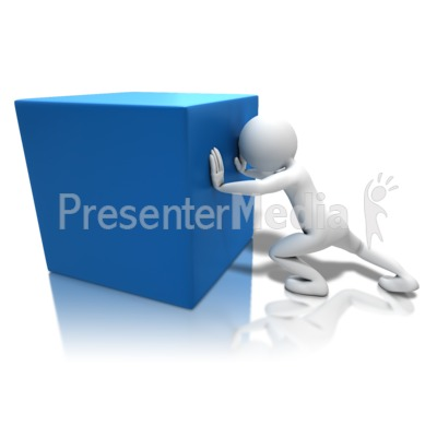 Pushing Heavy Box PowerPoint Clip Art