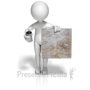 ID# 10375 - Beggar Holding Can and Sign - Presentation Clipart