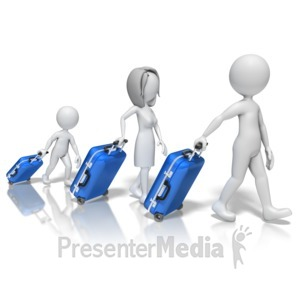 ID# 10428 - Stick Figure Family Suitcases - Presentation Clipart