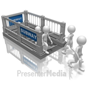 ID# 10511 - Stick Figures Subway Stairs - Presentation Clipart