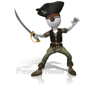 ID# 10512 - Pirate Sword On Guard - Presentation Clipart