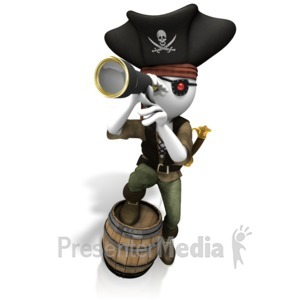 ID# 10516 - Pirate Looking Spyglass - Presentation Clipart