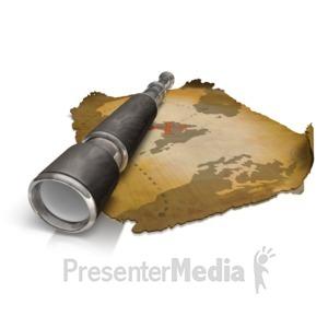 ID# 10531 - Treasure Map Spyglass - Presentation Clipart