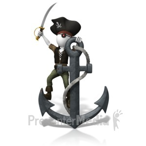 ID# 10538 - Pirate Anchored Down - Presentation Clipart