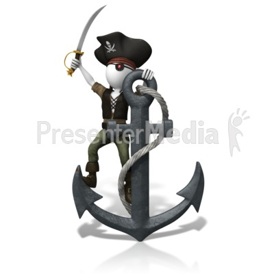 Pirate Anchored Down PowerPoint Clip Art