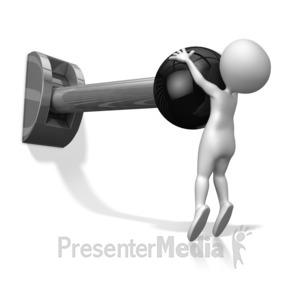 ID# 10556 - Stick Figure Pull Lever - Presentation Clipart