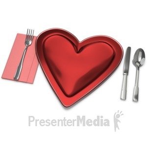 ID# 10732 - Heart Plate Setting - Presentation Clipart