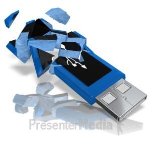ID# 10764 - USB Drive Shattered - Presentation Clipart