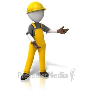 ID# 10775 - Construction Worker Display - Presentation Clipart