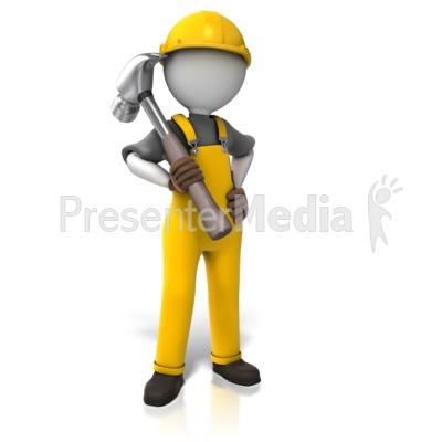 Construction Worker Hammer PowerPoint Clip Art