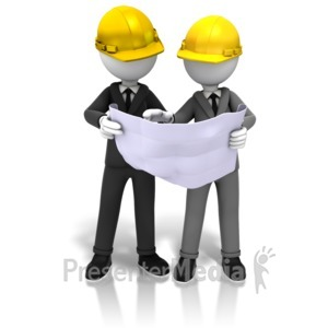 ID# 10779 - Hardhats And Blueprints - Presentation Clipart