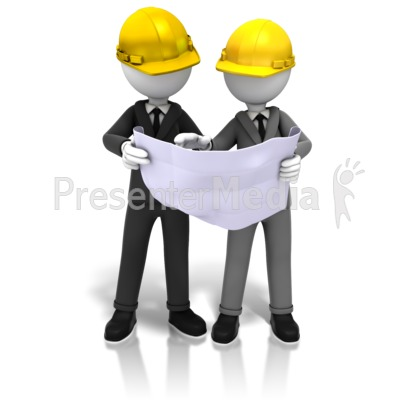 Hardhats And Blueprints PowerPoint Clip Art