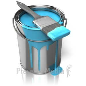 ID# 10812 - Paint Can With Brush - Presentation Clipart