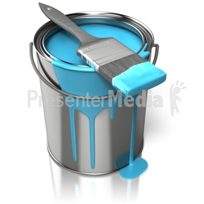 Paint Can With Brush PowerPoint Clip Art