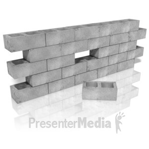 ID# 10863 - Cinder Block Wall Hole - Presentation Clipart
