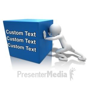 ID# 10930 - Pushing Heavy Box Text - Presentation Clipart