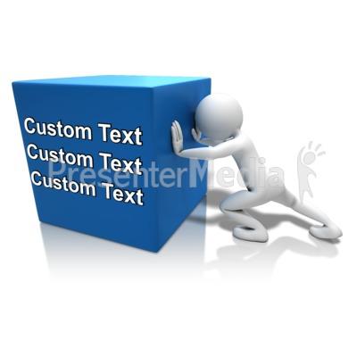 Pushing Heavy Box Text PowerPoint Clip Art