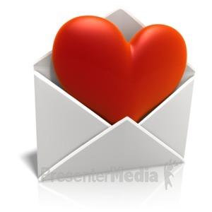 ID# 10935 - Sending Love Envelope - Presentation Clipart
