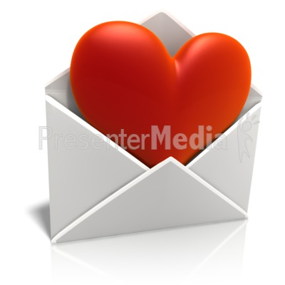 Sending Love Envelope PowerPoint Clip Art