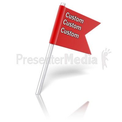 Flag Pin Angled Text PowerPoint Clip Art