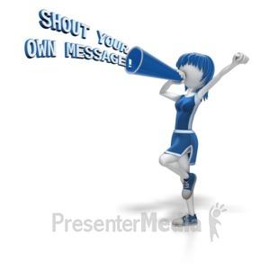 ID# 10973 - Cheerleader Megaphone Text - Presentation Clipart