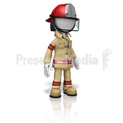 Firefighter Stand PowerPoint Clip Art