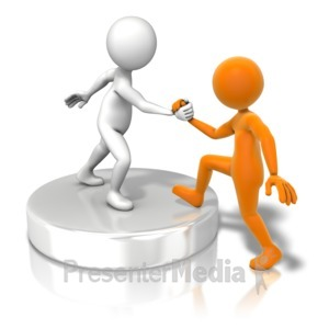ID# 11080 - Figure Helping Up Buddy - Presentation Clipart