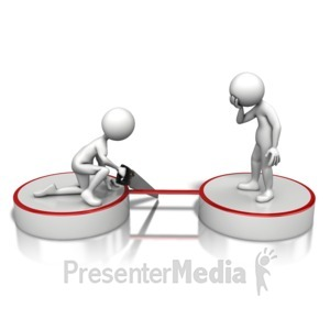ID# 11086 - Stick Figure Cutting Ties - Presentation Clipart