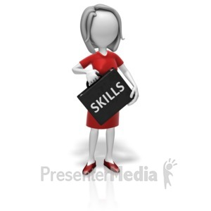 ID# 11098 - Businesswoman Skills Briefcase - Presentation Clipart