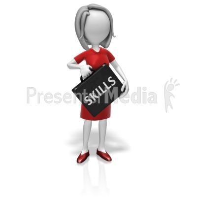 Businesswoman Skills Briefcase PowerPoint Clip Art