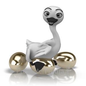 ID# 11116 - Goose Golden Eggs - Presentation Clipart