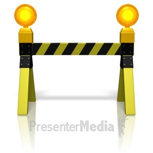 ID# 11125 - Road Block Caution Lights - Presentation Clipart