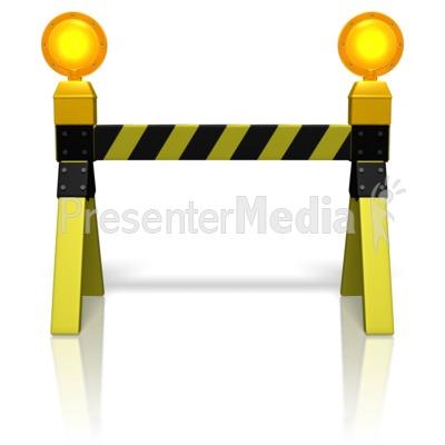Road Block Caution Lights PowerPoint Clip Art