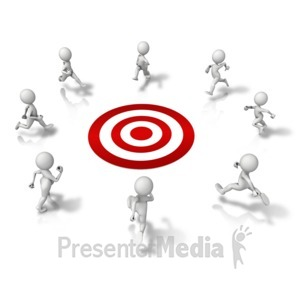 ID# 11135 - Group Running To Target - Presentation Clipart