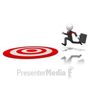ID# 11141 - Businessman Running To Target - Presentation Clipart
