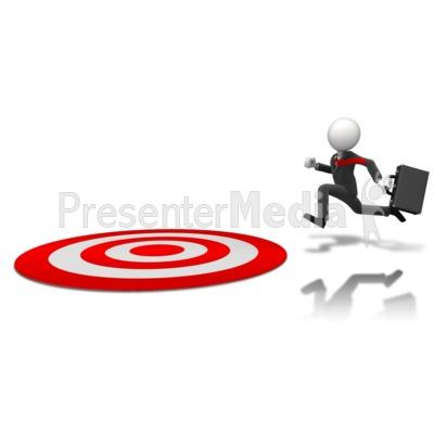 Businessman Running To Target PowerPoint Clip Art