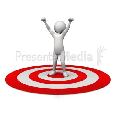 Figure Celebration On Target PowerPoint Clip Art