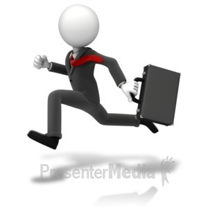 ID# 11166 - Businessman Running Suit - Presentation Clipart