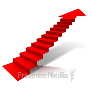 ID# 11175 - Steps Climbing Up Arrow - Presentation Clipart