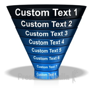 ID# 11206 - Shaded Funnel Eight Stage Text - Presentation Clipart