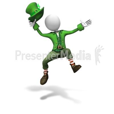 Stick Figure Leprechaun Jumping PowerPoint Clip Art