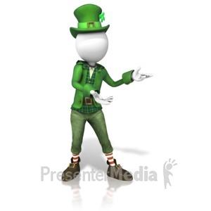 ID# 11230 - Stick Figure Leprechaun Presenting - Presentation Clipart