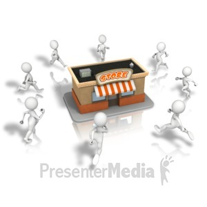 ID# 11263 - Crowd Running To Store - Presentation Clipart
