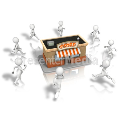 Crowd Running To Store PowerPoint Clip Art