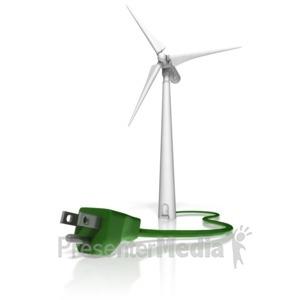 ID# 11277 - Wind Turbine Power Cord - Presentation Clipart