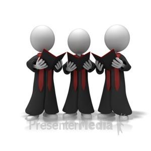 ID# 11282 - Choir Trio Sing - Presentation Clipart