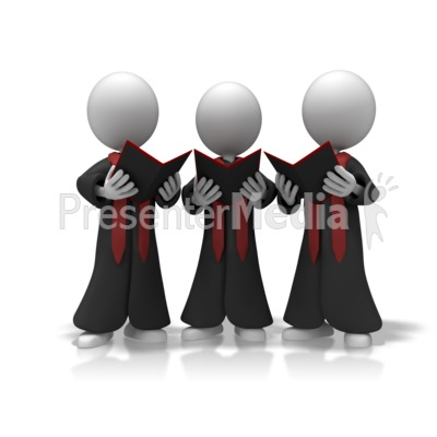 Choir Trio Sing PowerPoint Clip Art