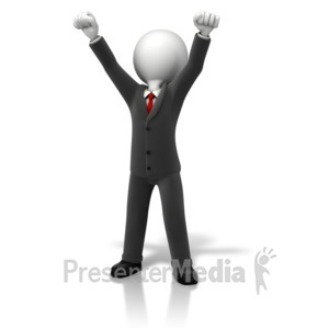 ID# 11338 - Business Celebration Arms Up - Presentation Clipart